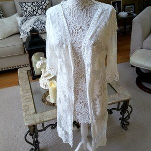 SHEER Lace KIMONO Embroidered Duster One SIZE